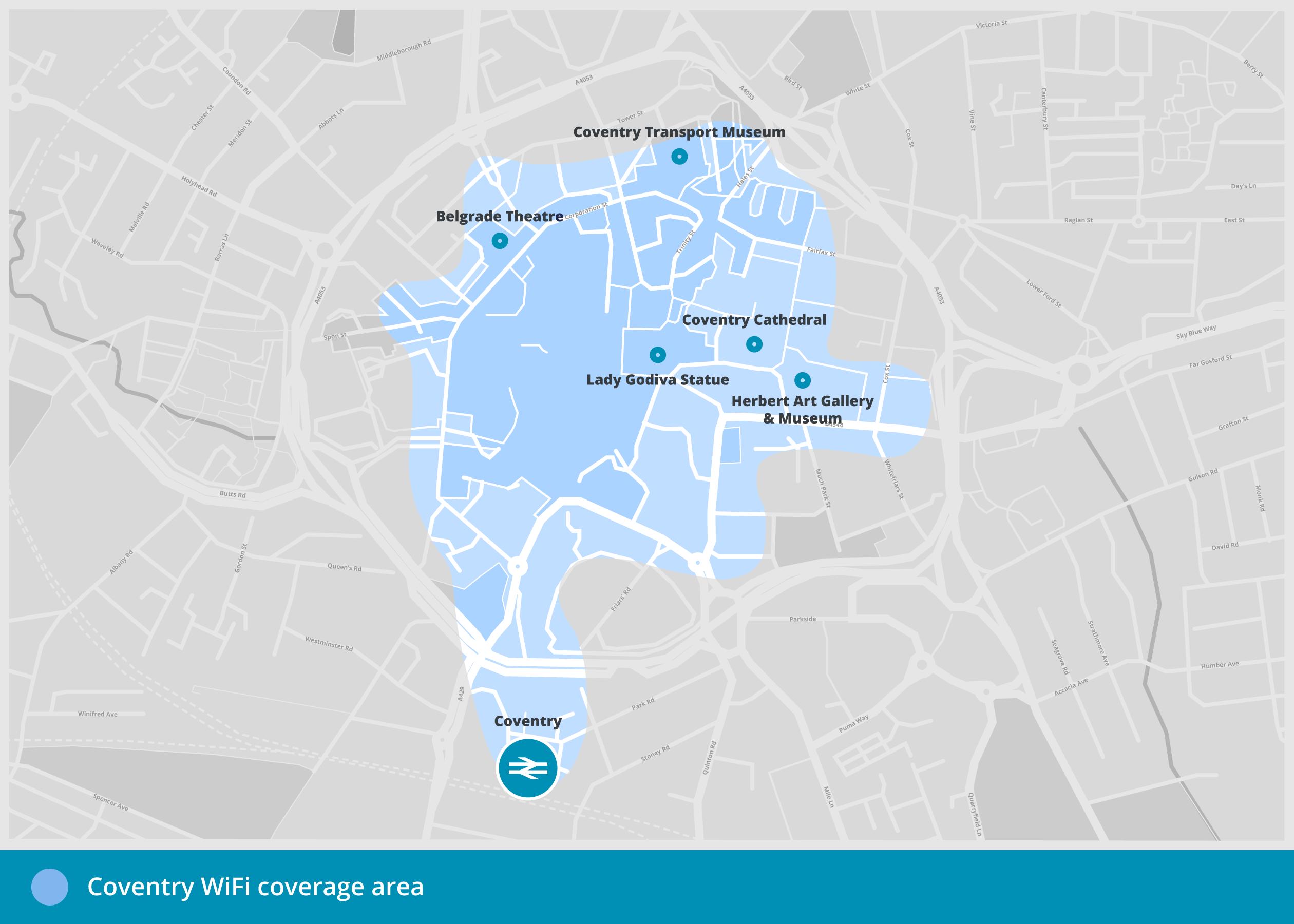 Coventry free WiFi - Coventry free WiFi coverage area